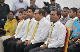 Former president Mohamed Nasheed (R) and MDP parliamentary group leader Mohamed Aslam at a gathering. PHOTO: HUSSAIN WAHEED/ MIHAARU