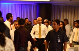 President Ibrahim Mohamed Solih at the City and Atoll Council Symposium PHOTO: HAFEEZA AHMED