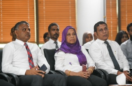 Minister of Housing and Urban Development Aminath Athifa at the launching ceremony. PHOTO: HUSSAIN WAHEED/MIHAARU