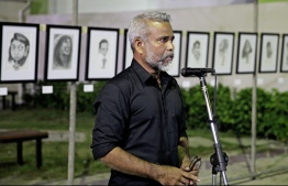 Ahmed Badeeu speaking at the opening ceremony of the Veeval Art Exhibition. PHOTO: SIRA
