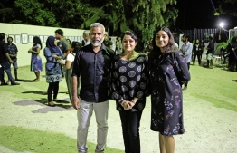 Artist Ahmed Badeeu (L), Yumna Maumoon (M) and Badeeu's wife, Shadhya Adeel Jaleel (R) at the Veevaal Art Exhibition. PHOTO: SIRA