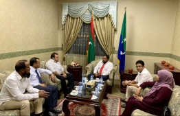 Parliament Speaker Qasim Ibrahim and the leaders of parliamentary groups holding  PHOTO: MOHAMED YAMEEN/ MIHAARU