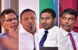 L-R: Hulhuhenveiru MP Moosa Manik, Guraidhoo MP Hussain Manik Dhonmanik, former MP and current Minister of Youth, Sport and Community Empowerment, Ahmed Mahloof, Vilufushi MP Riyaz Rasheed. IMAGE/MIHAARU