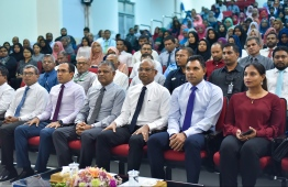 President Ibrahim Mohamed Solih (3-R), Vice President Faisal Naseem (2-R) and other senior government officials. PHOTO: HUSSAIN WAHEED/MIHAARU