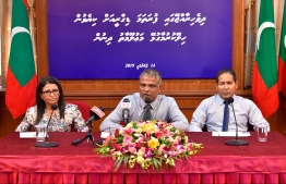 Minister of Higher Education Dr Ibrahim Hassan speaks at the press conference held to provide information regarding guidelines for government financing of undergraduate degrees. PHOTO: HUSSAIN WAHEED
