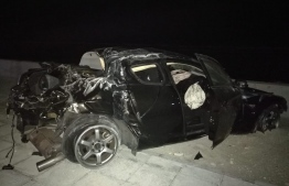 The car involved in the crash on the Sinamale Bridge Highway. PHOTO: READER/MIHAARU