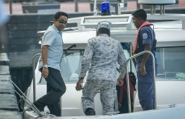 Former President Abdulla Yameen Abdul Gayoom being transported to Maafushi Prison. PHOTO: NISHAN ALI/ MIHAARU