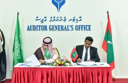 Signing Ceremony of the MOU between the top auditing institutions of Maldives and Saudi Arabia. PHOTO: AHMED NISHAATH/ MIHAARU
