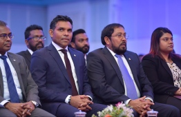 Vice President Faisal Naseem (L) and Jumhooree Party leader Qasim Ibrahim. PHOTO: HUSSAIN WAHEED / MIHAARU