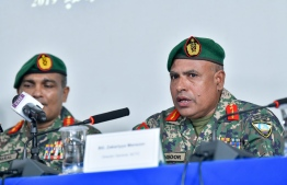 Director General of National Counter-Terrorism Centre Brigadier General Zakariyya Mansoor (R) at a Press Conference held by Maldives National Defence Force. PHOTO: NISHAN ALI/ MIHAARU