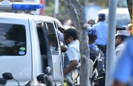 Former president Abdulla Yameen Abdul Gayoom being transported to Maafushi detention centre. PHOTO: HUSSAIN WAHEED/ MIHAARU