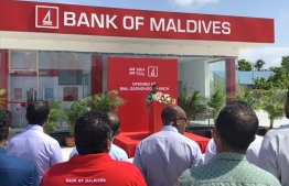 The inauguration ceremony of the self-service banking centre in Gadhdhoo, Gaafu Dhaalu Atoll. PHOTO: BANK OF MALDIVES