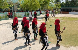 Traditional dance being performed by female students from Thulhadhoo School. PHOTO: STAND UP FOR OUR SEAS