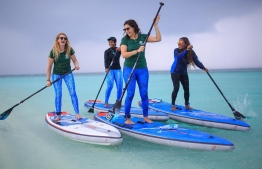 (From Left) Dr. Cal Major, Dhafeena Hassan, Dr. Claire Petros and Shaziya Saeed take off from Coco Palm Dhuni Kolhu to Thulhadhoo Island. PHOTO: STAND UP FOR OUR SEAS