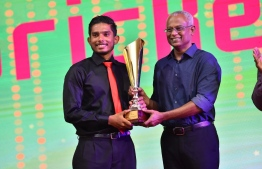 Yoosuf Azyan Farhath, the recipient of the Men's Cricketer of the Year 2018 award. PHOTO: PRESIDENT'S OFFICE