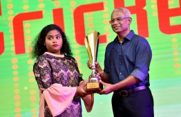 Aishath Aima, the recipient of the first Women's Cricketer of the Year 2018 award. PHOTO: PRESIDENT'S OFFICE
