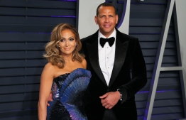Singer/actress Jennifer Lopez and former pro-baseball player Alex Rodriguez attend the 2019 Vanity Fair Oscar Party following the 91st Academy Awards at The Wallis Annenberg Center for the Performing Arts in Beverly Hills on February 24, 2019. (Photo by JB Lacroix / AFP)