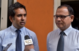 Deputy leaders of People's National Congress, Mohamed Saeed (L) and Adam Shareef, speak to reporters after meeting with the Human Rights Commission regarding the arrest of former President Abdulla Yameen. PHOTO: NISHAN ALI/MIHAARU