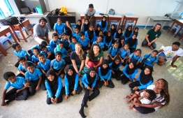 Stand Up For Our Seas Team pictured with the attendees of a presentation with Baa Atoll Maalhos School students. PHOTO: JAMES APPLETON