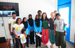 Stand Up For Our Seas Team following the presentation with the Baa Atoll Maalhos School PHOTO: JAMES APPLETON