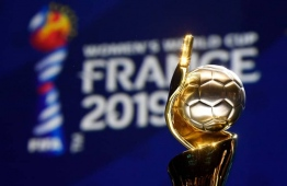 The Women's World Cup trophy is seen during the draw for the tournament in Paris. PHOTO: JIJI/AFP