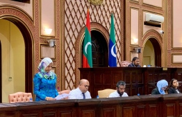 Minister Athifa addressing the parliament. PHOTO: PARLIAMENT