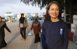 With Maldivian women. PHOTO: Ashwa Faheem / UNDP Maldives