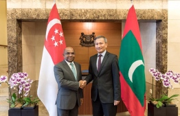 Minister of Foreign Affairs Abdulla Shahid and Singapore's Foreign Minister Dr Vivin Balakrishnan. PHOTO: FOREIGN MINISTRY