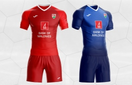 The redesigned national team football jersey, as part of Bank of Maldives' 'AharengeTeam' public design competition.
