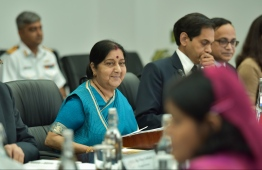 Indian Minister of External Affairs Sushma Swaraj during her official visit to Maldives in March 2019. PHOTO/MIHAARU