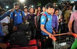 Bangladesh cricketer Abu Jayed (R) is seen upon the team's arrival from New Zealand in Dhaka on March 16, 2019, a day after narrowly escaping the mosque attack that killed 49 people in Christchurch. PHOTO: MUNIR UZ ZAMAN / AFP