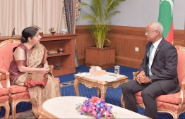 Indian External Affairs Minister Sushma Swaraj and President Ibrahim Mohamed Solih. PHOTO: PRESIDENT'S OFFICE