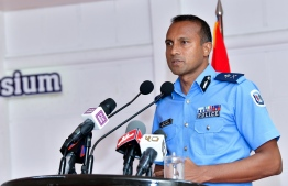 Commissioner of Maldives Police Service Mohamed Hameed making announcement at symposium. PHOTO: NISHAN ALI/MIHAARU.