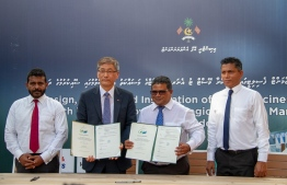 From the agreement signing ceremony between the Maldivian government and Korean company, Lotus/Kunhwa Joint Venture. PHOTO: MIHAARU FILES