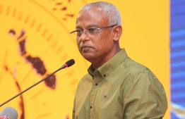 President Ibrahim Mohamed Solih speaking at the campaign rally of MP Imthiyaz Fahmy: The President declared that a new housing project will be announced soon. PHOTO: MDP