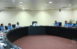 President Ibrahim Mohamed Solih meeting with top police officials. PHOTO: MALDIVES POLICE SERVICE