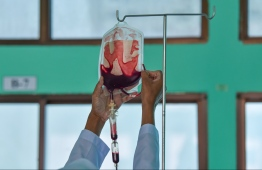 A picture from the blood transfusion process for Thalassemia patients. PHOTO: HUSSAIN WAHEED/ MIHAARU