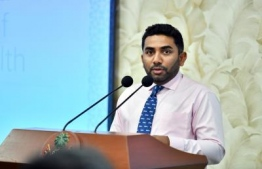 Minister of Health Abdulla Ameen speaking at the inauguration ceremony of IGMH's Mental Health Centre. PHOTO: PRESIDENT'S OFFICE