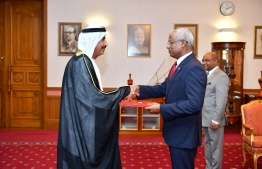The Ambassador-Designate of United Arab Emirates to Maldives Dr Saeed Mohamed Ali Al Shamsi, presents his credentials to President Ibrahim Mohamed Solih. PHOTO: PRESIDENT'S OFFICE