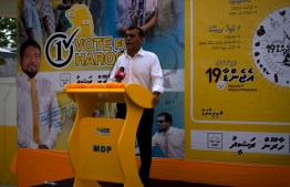 Former President Mohamed Nasheed speaks at the campaign gathering for the parliamentary election, at GA.Villingili. PHOTO: HAWWA AMAANY ABDULLA / THE EDITION