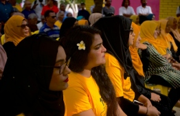 MDP supporters at the campaign gathering of former President Mohamed Nasheed, in GA.Villingili. PHOTO: HAWWA AMAANY ABDULLA / THE EDITION