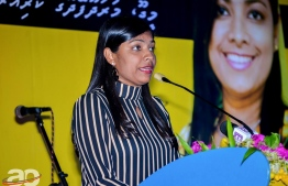 Rozina speaking at a campain gathering held for the upcoming parliamentary election on April 6. PHOTO: LUBNA / AO NEWS