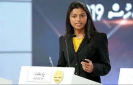 Eva Abdulla speaking at the debate held by TVM for the parliamentary elections. PHOTO: SCREENGRAB / SOCIAL MEDIA