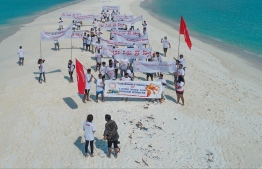 The protestors were employees from over eight resorts. PHOTO: TOURISM EMPLOYEES ASSOCIATION MALDIVES