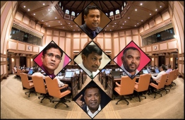 A collage of controversial MPs - MP Ahmed Nihan (L), MP Riyaz Rasheed (C), MP Ali Arif (R), Abdulla Jabir (B) and MP Mohamed Ismail (T).  PHOTO: VARIOUS / THE EDITION