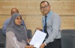 During the signing ceremony to award the ring road development project of Fuvahmulah to MTCC. PHOTO/PLANNING MINISTRY