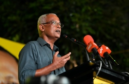 President Ibrahim Mohamed Solih speaking at an MDP rally. PHOTO: HUSSAIN WAHEED / MIHAARU