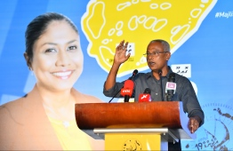 President Ibrahim Mohamed Solih speaks at the campaign rally for Hisaan Hussain, who is running for the constituency of Thulhaadhoo on behalf of MDP.