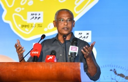 President Ibrahim Mohamed Solih speaking in the campaign rally of Hisaan Hussain contesting for Thulhaadhoo constituency. PHOTO: HUSSAIN WAHEED / MIHAARU