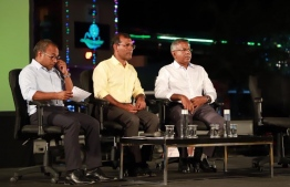 MDP's senior members discussing their vision of high employment rates during the agenda 19 rally held on Monday night. PHOTO: MDP TWITTER